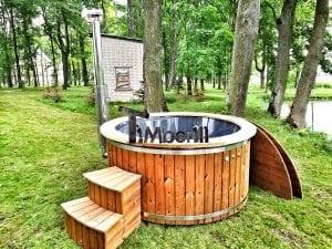 Wellness fiberglasshot tub with complete wood decoration 6