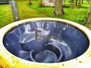 Wellness fiberglasshot tub with complete wood decoration 8