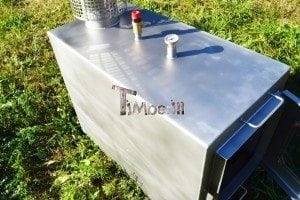 Wood fired hot tub squared heater with glass 10