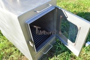 Wood fired hot tub squared heater with glass 11