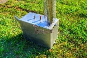 Wood fired hot tub squared heater with glass 5