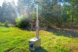 Wood fired hot tub squared heater with glass 7