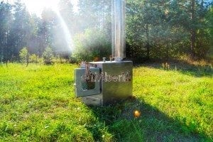 Wood fired hot tub squared heater with glass 8