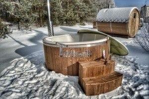 Wood fired hot tub with fiberglass lining Wellness Royal 18