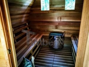 outdoor garden wooden sauna red cedar with electric heater and porch 14