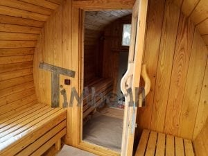 Barrel garden sauna with canopy terrace and electric heater 10