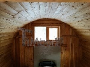 Barrel garden sauna with canopy terrace and electric heater 13