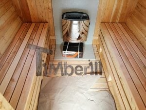 Barrel garden sauna with canopy terrace and electric heater 14