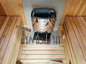 Barrel garden sauna with canopy terrace and electric heater 17