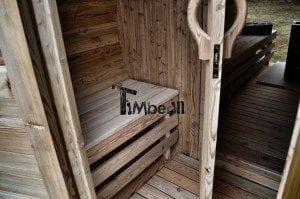 Barrel outdoor garden sauna with panoramic window 15
