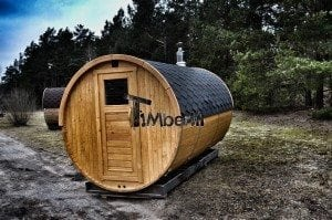 Barrel outdoor garden sauna with panoramic window 2