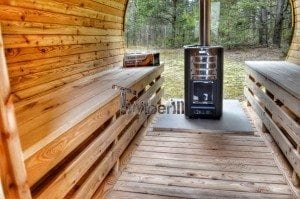 Barrel outdoor garden sauna with panoramic window 24