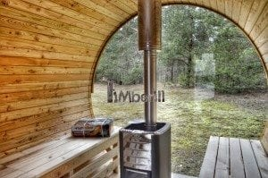 Barrel outdoor garden sauna with panoramic window 26