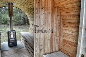 Barrel outdoor garden sauna with panoramic window 33