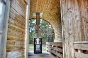 Barrel outdoor garden sauna with panoramic window 35