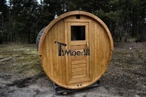 Barrel outdoor garden sauna with panoramic window 6