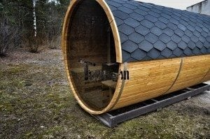 Barrel outdoor garden sauna with panoramic window 7