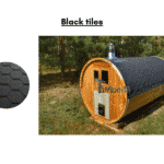 Black tiles for a barrel sauna