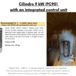 Cilindro 9 kW PC90 with an integrated control unit for a barrel sauna