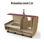 Dressing room 1 m included in total saunas length for rectangular sauna