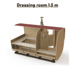 Dressing room 1.5 m included in total saunas length for rectangular sauna