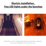 Electric installation. Few LED lights under the benches sauna area for rectangular sauna
