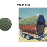Green tiles for a barrel sauna