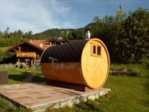 Outdoor Barrel Round Sauna 3