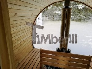 Outdoor garden sauna with full panoramic glass 17
