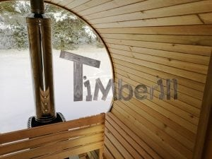 Outdoor garden sauna with full panoramic glass 18