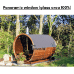 Panoramic window for a barrel sauna