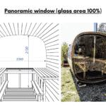 Panoramic window glass area 100 for rectangular sauna