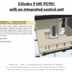 Recommended for 2 – 3 meter sauna room Cilindro 9 kW PC90 with an integrated control unit already included for rectangular sauna