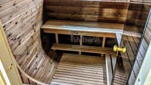 Rectangular barrel wooden outdoor sauna 12 1