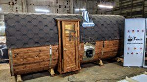 Rectangular barrel wooden outdoor sauna 26 1