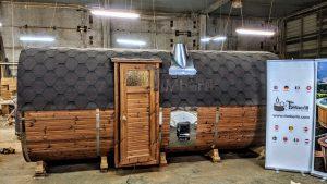 Rectangular barrel wooden outdoor sauna 27 1