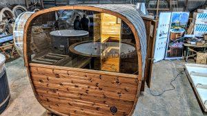 Rectangular barrel wooden outdoor sauna 31 1