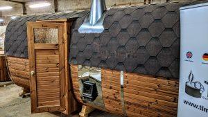 Rectangular barrel wooden outdoor sauna 6 1