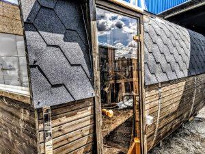 Rectangular wooden outdoor sauna 1 2