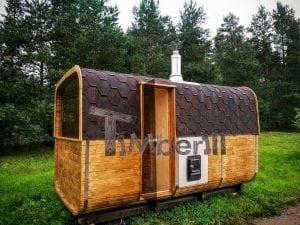 Rectangular wooden outdoor sauna 1