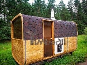 Rectangular wooden outdoor sauna 11