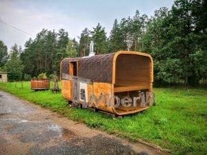 Rectangular wooden outdoor sauna 13
