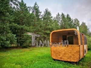 Rectangular wooden outdoor sauna 16