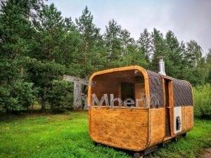 Rectangular wooden outdoor sauna 17