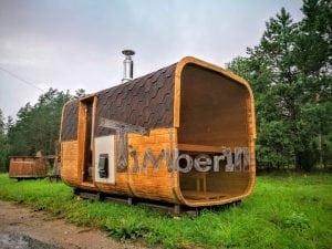 Rectangular wooden outdoor sauna 18