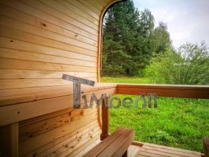 Rectangular wooden outdoor sauna 35