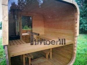 Rectangular wooden outdoor sauna 38