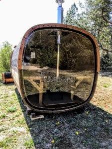 Rectangular wooden outdoor sauna 4 1