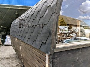 Rectangular wooden outdoor sauna 4 2