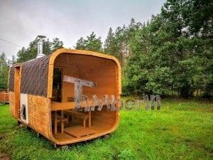 Rectangular wooden outdoor sauna 4